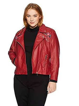 Yoki Womens Plus Size Faux Leather Embroidered Moto Jacket, RED, 3X
