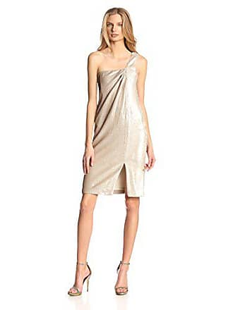 a65376bd Halston Heritage Womens Sequin One-Shoulder Twist Drape Dress, Dark  Bone/Gold,