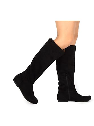 bb9e8d06286 Qupid Womens Knee High  Round Toe  Pull On  Black Size  7