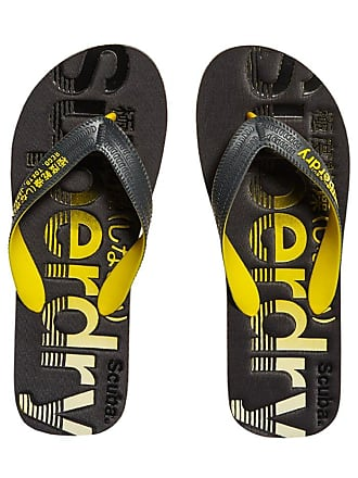 42f3f6fd Superdry Mens Scuba Faded FLIP Flop, Grey (Charcoal/Fluro Yellow MT8),