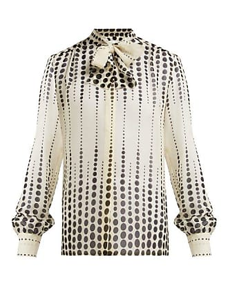 Giambattista Valli Polka Dot Print Pussy Bow Silk Blouse - Womens - White Black