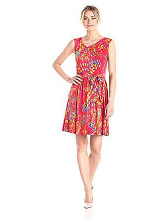 Ellen Tracy Womens Sleeveless Cowl-Neck Dress, Red/Multi, 12