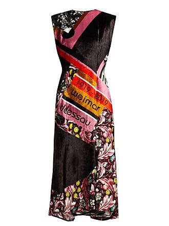 fb1ca47b0d90 Mary Katrantzou Bayer Dip Hem Velvet Midi Dress - Womens - Pink Multi