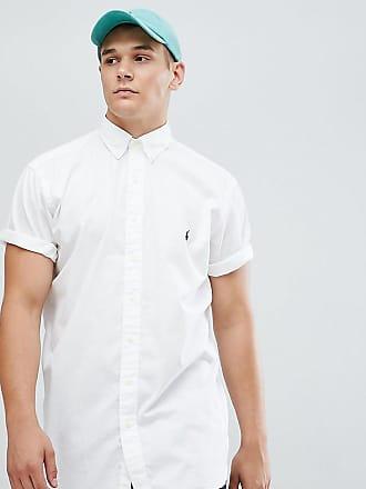 Polo Ralph Lauren Camisa teñida de manga corta en blanco con logo de  jugador Big   c824e55101d4b