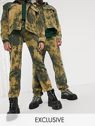 Collusion x000 - Unisex - Jeans mit geradem Bein aus gebleichtem Cord in Khaki-Grün