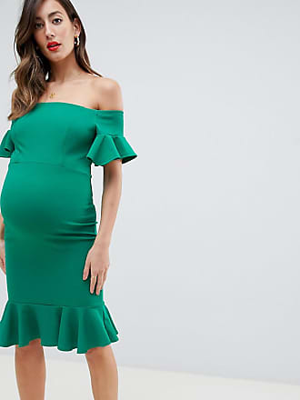 Queen Bee bardot midi dress with ruffle sleeve and hem in green - Green