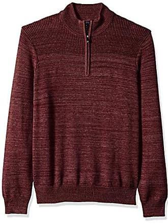 Van Heusen Mens Long Sleeve Texture Block 1/4 Zip Sweater 7GG, Pinot Noir Heather, XX-Large