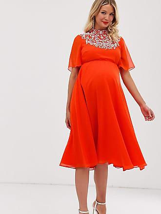 8d385aea2ca4d Asos Maternity ASOS DESIGN Maternity midi dress with flutter cape and  pretty pearl embellishment