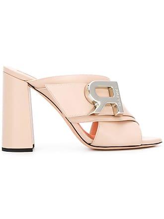 Rochas Sapato mule de couro com logo - Rosa