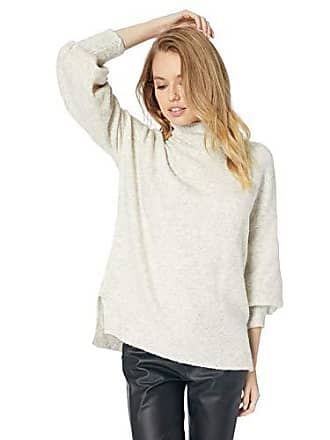 0a4960e5cde69f French Connection Womens Flossy Long Sleeve Loose Fit Solid Pullover Sweater,  Oatmeal, L