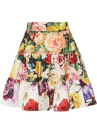 cd886fb6db Dolce & Gabbana Tiered Floral-print Cotton-poplin Mini Skirt - White