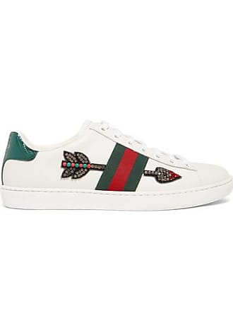 4571851bde1 Gucci Baskets En Cuir À Cristaux Et À Finitions En Serpent Deau Ace - Blanc