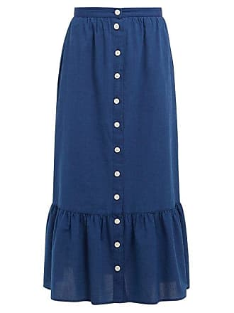 Mih Jeans Remy Tiered Hem Chambray Midi Skirt - Womens - Navy