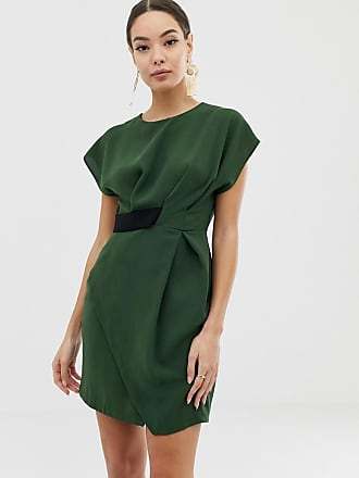 Asos origami mini dress with tab side - Green