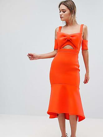 True Violet Bow Detail Midi Dress With Pep Hem - Orange