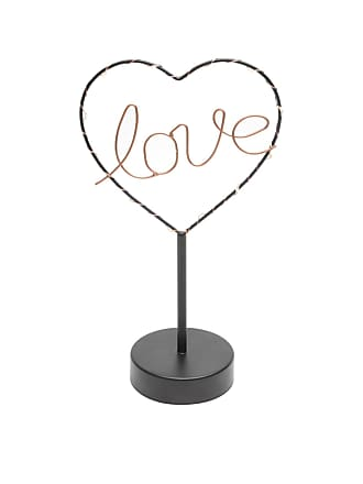 Urban Luminária Mesa Metal Love Heart Com Led Preto 16.5X9.5X29.5cm