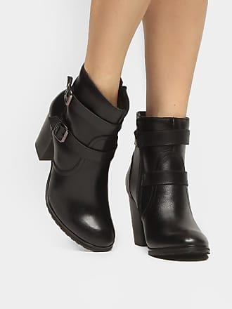 39905cc1d5 Shoestock Bota Couro Cano Curto Shoestock Fivelas - Feminino