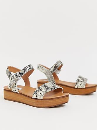 56c69f9eb4 Steve Madden Genca natural leather snake slip on flatform sandals