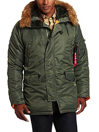 Alpha Industries Mens N-3B Slim-Fit Parka Jacket with Removable Faux-Fur Hood Trim, Sage/Orange, 3X-Large