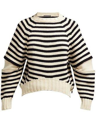 ad05204a395a Alexander McQueen Pull en maille de laine à manches découpées