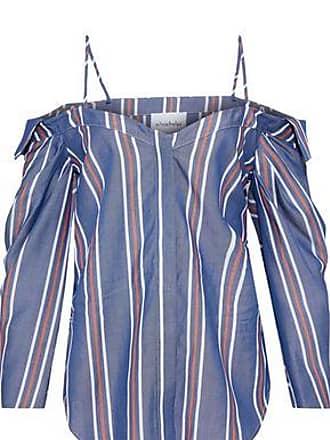 c50511fc234 Nicholas Nicholas Woman Cold-shoulder Striped Tencel-chambray Top Blue Size  0
