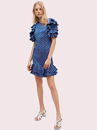 Kate Spade New York Geo Dot Satin Shift Dress, Amulet Blue - Size 14