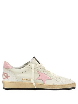 Golden Goose Ball Star Low Top Crackled Leather Trainers - Womens - Pink White