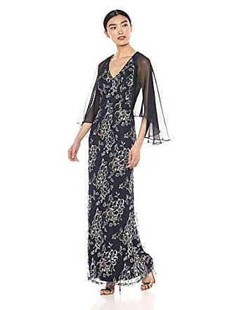 Ignite Womens Mother of The Bride Long Sequin Dress with Sleeves, Navy, 6