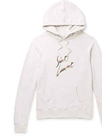3796c02462f Saint Laurent Logo-print Loopback Cotton-jersey Hoodie - Off-white