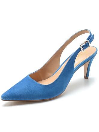 Luiza Barcelos Scarpin Couro Luiza Barcelos Tiras Azul