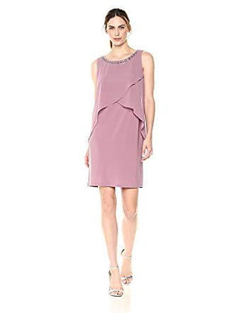 S.L. Fashions Womens Sleeveless Tulip Chiffon Pop Over Dress, Elderberry, 12