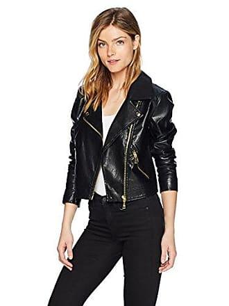 Guess Guess Womens Long Sleeve Jaden Moto Jacket Outerwear, -jet black a, L