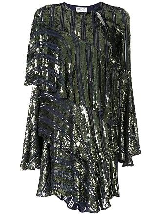 Osman Vestido Tina assimétrico com paetês - Azul