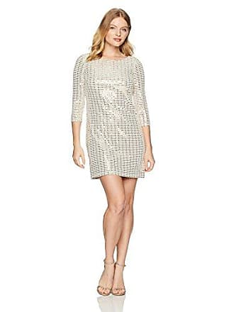 056d9a70cc07 Jessica Howard Womens Petite Glitter Shift Dress, Champagne 12P