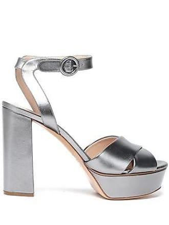 37304432794d Casadei Casadei Woman Metallic Leather Platform Sandals Gunmetal Size 36.5