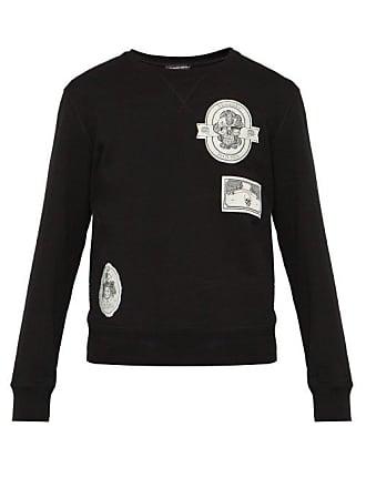 Alexander McQueen Alexander Mcqueen - Skull Appliqué Cotton Sweatshirt - Mens - Black Multi