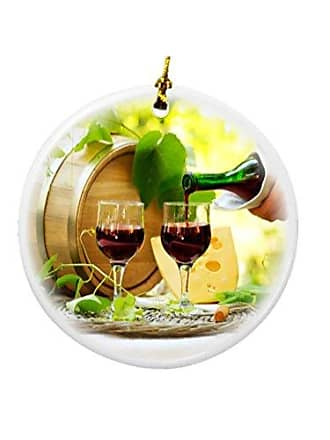Rikki Knight Rikki Knight Red Wine and Cheese Design Round Porcelain Two-Sided Christmas Ornaments