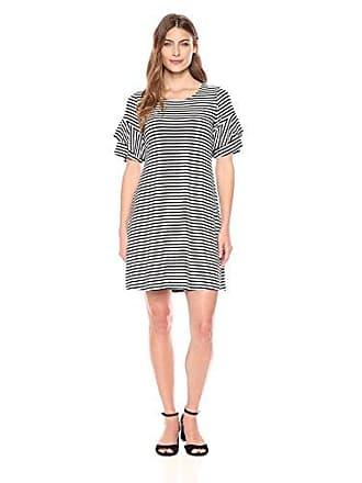 Karen Kane Womens Ruffle Sleeve Dress, Stripe, XS