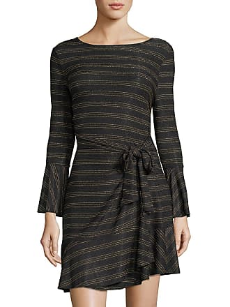 5twelve Metallic Stripe Faux-Wrap Sheath Dress