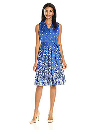 Anne Klein Womens Cotton Notch-Collar Wrap-Front Self-Belted Dress with Full Skirt, Bluebell/Optic White, 12