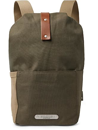 f8f5d449e Brooks England Dalston Small Leather-trimmed Canvas Backpack - Army green