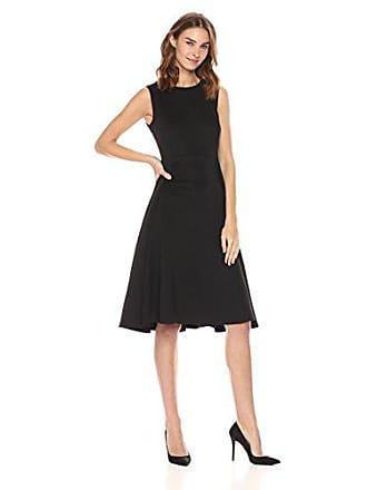 Calvin Klein Womens Sleeveless Princess Seamed A-line midi Dress, Black, 4