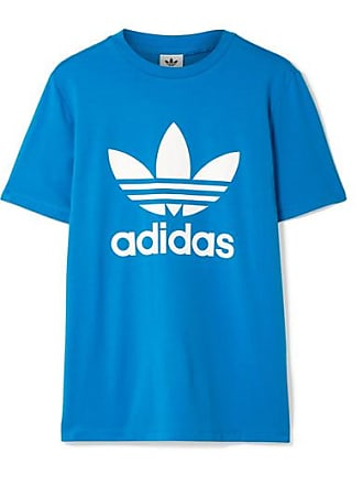 208eef21 adidas Originals Trefoil Printed Stretch-cotton Jersey T-shirt - Bright blue