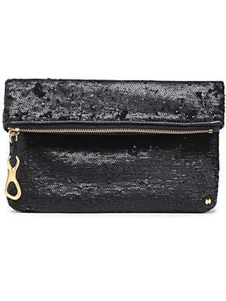 Halston Heritage Halston Heritage Woman Sequined Leather Clutch Black Size