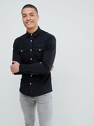 7e118fb451 Asos skinny denim western shirt in black