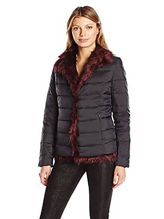 Betsey Johnson Womens Light Weight Puffer Coat to Faux Fur Reversible JKT, Black/Red, L
