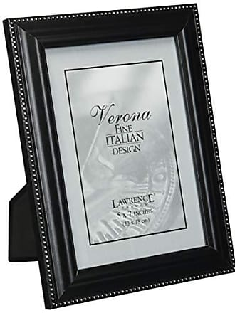 Lawrence Frames Walnut Wood 5x7 Picture Frame - Silver Bead Design