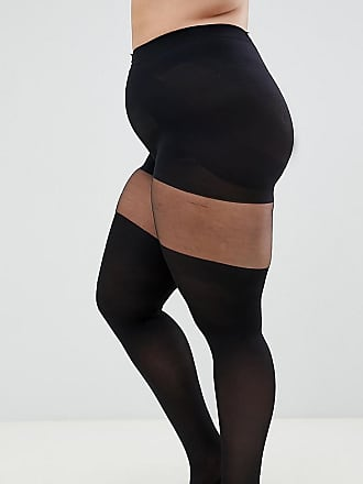 b74e047376089c Asos Curve ASOS DESIGN Curve mock over the knee tights with support - Black