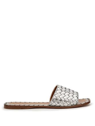 Bottega Veneta Intrecciato Leather Slides - Womens - Silver
