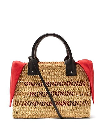 Muuñ Charlotte Canvas And Woven Grass Bag - Womens - Red